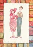 Γαμήλιο ζεύγος, απεικόνιση watercolor απεικόνιση αποθεμάτων