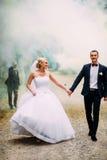 Γαμήλιο ζεύγος με τον καπνό χρώματος στοκ φωτογραφίες