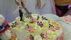 Γαμήλιο ζεύγος που κόβει ένα γαμήλιο κέικ στη ημέρα γάμου τους φιλμ μικρού μήκους