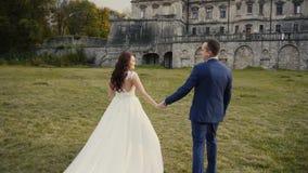 Γαμήλιο ζεύγος που περπατά πριν από το Castle απόθεμα βίντεο