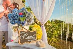 Γαμήλιο ζεύγος στην παραλία στοκ φωτογραφία