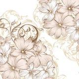 Γαμήλιο διανυσματικό υπόβαθρο με συρμένα τα χέρι τυποποιημένα λουλούδια στο Πε Στοκ Εικόνα