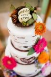 Γαμήλιο κέικ ευτυχώς έκτοτε στοκ φωτογραφία