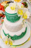 Γαμήλιο κέικ, κέικ για τη γαμήλια διακόσμηση στο κέικ Στοκ Εικόνες