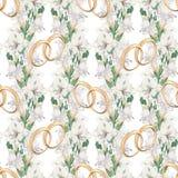 Γαμήλιο σχέδιο του freesia και των χρυσών δαχτυλιδιών Στοκ Εικόνες