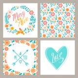Γαμήλιο σύνολο καρτών πρόσκλησης με τα λουλούδια και Στοκ εικόνα με δικαίωμα ελεύθερης χρήσης
