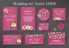 Γαμήλιο σύνολο προτύπων καρτών με τα λουλούδια κρίνων στοκ εικόνα με δικαίωμα ελεύθερης χρήσης
