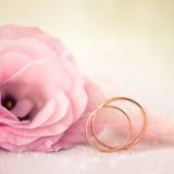 Γαμήλιο υπόβαθρο αγάπης με τα χρυσά δαχτυλίδια και το όμορφο λουλούδι Στοκ Φωτογραφία