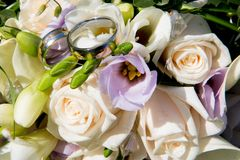 Γαμήλιο υπόβαθρο αγάπης με τα χρυσά δαχτυλίδια Στοκ εικόνες με δικαίωμα ελεύθερης χρήσης