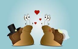 Γαμήλιο υπόβαθρο των σαλιγκαριών κινούμενων σχεδίων Στοκ φωτογραφία με δικαίωμα ελεύθερης χρήσης