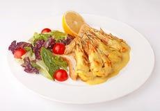 Γαρίδες με τη σάλτσα και το λαχανικό Στοκ φωτογραφίες με δικαίωμα ελεύθερης χρήσης