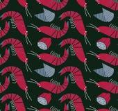 Γαρίδες, μύδια και άνευ ραφής σχέδιο λεμονιών Στοκ φωτογραφίες με δικαίωμα ελεύθερης χρήσης