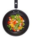 γαρίδες πιπεριών κουδουνιών wok Στοκ εικόνες με δικαίωμα ελεύθερης χρήσης