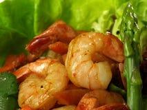 γαρίδες σαλάτας σπαραγγιού Στοκ Εικόνα