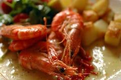 Γαρίδες σε ένα πιάτο στοκ εικόνα