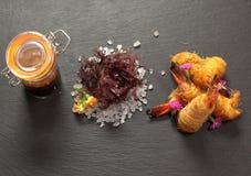 γαρίδες τιγρών στο γεύμα δοκιμής Στοκ εικόνα με δικαίωμα ελεύθερης χρήσης