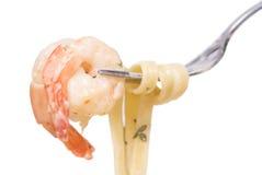 γαρίδες fettuccine στοκ φωτογραφία
