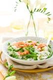 γαρίδες risotto σπαραγγιού Στοκ Φωτογραφίες