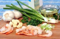 γαρίδες scampi προετοιμασιών Στοκ Φωτογραφία