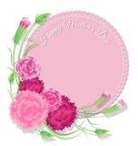 Γαρίφαλο με το ρόδινο υπόβαθρο για την κάρτα ημέρας μητέρων στοκ εικόνα