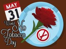 Γαρίφαλο Ashtray, το ημερολόγιο και την καρφίτσα για καμία ημέρα καπνών, διανυσματική απεικόνιση Στοκ φωτογραφίες με δικαίωμα ελεύθερης χρήσης