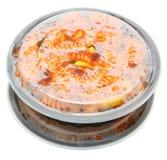 Γαρίδες και ζυμαρικά Fusilli στο πλαστικό εμπορευματοκιβώτιο μεσημεριανού γεύματος με το καπάκι Στοκ Εικόνες