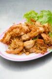 Γαρίδες που τηγανίζονται με το σκόρδο Στοκ Φωτογραφία