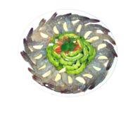 Γαρίδες στη σάλτσα ψαριών, καυτός και πικάντικος στο άσπρο υπόβαθρο Στοκ φωτογραφία με δικαίωμα ελεύθερης χρήσης