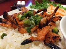 γαρίδες στο ρύζι στοκ εικόνα με δικαίωμα ελεύθερης χρήσης
