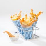 Γαρίδες & τηγανητά Στοκ Φωτογραφίες