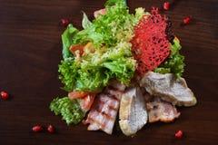 Γαστρονομικά τρόφιμα εστιατορίων - εύγευστο καπνισμένο κρέας, ψάρια και φυτικές σαλάτες Τρόφιμα εστιατορίων ορεκτικών πολυτέλειας Στοκ Φωτογραφίες