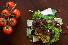 Γαστρονομικά τρόφιμα εστιατορίων - εύγευστο καπνισμένο κρέας, ψάρια και φυτικές σαλάτες Τρόφιμα εστιατορίων ορεκτικών πολυτέλειας Στοκ εικόνες με δικαίωμα ελεύθερης χρήσης