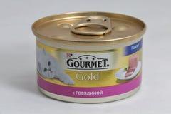 Γαστρονομικά χρυσά δοχεία τροφίμων κατοικίδιων ζώων στο άσπρο υπόβαθρο Στοκ φωτογραφία με δικαίωμα ελεύθερης χρήσης