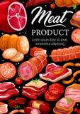 Γαστρονομικές λιχουδιές λουκάνικων κρέατος καταστημάτων χασάπηδων διανυσματική απεικόνιση