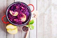 Γαστρονομικές φρέσκες πορφυρές λάχανο και σαλάτα της Apple Στοκ Φωτογραφίες