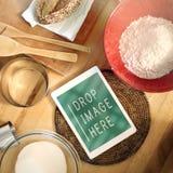 Γαστρονομική έννοια συνταγής συστατικών τροφίμων Στοκ εικόνα με δικαίωμα ελεύθερης χρήσης