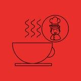 Γαστρονομικός καυτός καφές φλυτζανιών αρχιμαγείρων κινούμενων σχεδίων διανυσματική απεικόνιση