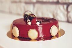 Γαστρονομικό επιδόρπιο σοκολάτας σε ένα εστιατόριο, καφές Μαγειρική, ένα βιβλίο των επιδορπίων, γλυκά στοκ εικόνες
