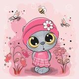 Γατάκι σε ένα λιβάδι με τα λουλούδια και τις πεταλούδες ελεύθερη απεικόνιση δικαιώματος
