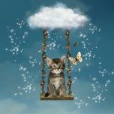 Γατάκι στον ουρανό ελεύθερη απεικόνιση δικαιώματος