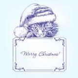 Γατάκι Χριστουγέννων στο χέρι καπέλων γυναικείων καλτσών Santa που σύρεται απεικόνιση αποθεμάτων