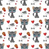 Γατών και γατακιών ποντικιών χαριτωμένη κατοικίδιων ζώων κινούμενων σχεδίων χαριτωμένη ζωική γατίσια αιλουροειδής απεικόνιση υποβ ελεύθερη απεικόνιση δικαιώματος