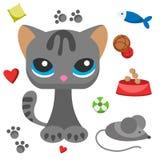 Γατών και γατακιών ποντικιών χαριτωμένη κατοικίδιων ζώων αιλουροειδής απεικόνιση χαρακτήρα κινούμενων σχεδίων χαριτωμένη ζωική γα απεικόνιση αποθεμάτων