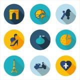 Γαλλία, εικονίδια με το διανυσματικό σχήμα Στοκ εικόνα με δικαίωμα ελεύθερης χρήσης
