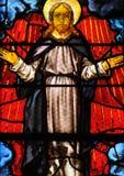 Γαλλία, λεκιασμένο παράθυρο γυαλιού στην εκκλησία Αγίου Martin Triel Στοκ Εικόνα
