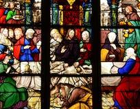 Γαλλία, λεκιασμένο παράθυρο γυαλιού στην εκκλησία Αγίου Martin Triel Στοκ Εικόνες