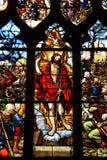 Γαλλία, λεκιασμένο παράθυρο γυαλιού στην εκκλησία Αγίου Martin Triel Στοκ Φωτογραφίες