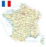 Γαλλία - λεπτομερής χάρτης - απεικόνιση Στοκ Εικόνα