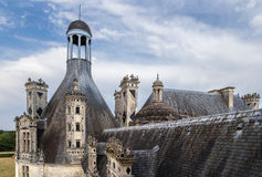 Γαλλία Η στέγη και οι καπνοδόχοι διακόσμησαν το πύργο de Chambord, 1519 - 1547 έτη Κατάλογος παγκόσμιων κληρονομιών της ΟΥΝΕΣΚΟ Στοκ Φωτογραφίες