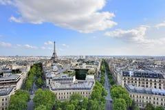 Γαλλία Παρίσι Εναέρια άποψη σχετικά με τον πύργο του Άιφελ, Arc de Triomphe, το Les Invalides κ Στοκ Φωτογραφίες
